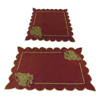 Conjunto Jogo Americano + Guardanapo Natalino - Vermelho - Conjunto com 6 peças de cada - Cód.: 7814