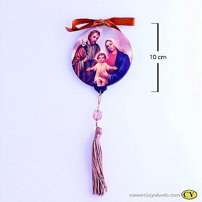 Enfeite Medalhão de parede em MDF com oração da Sagrada Familia - Pacote com 3 peças - Cód.: 043