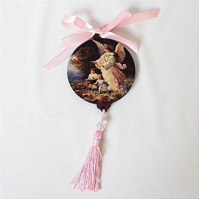 Enfeite Medalhão de parede em MDF com oração do Anjo da Guarda - Pacote com 3 peças - Cód.: 043