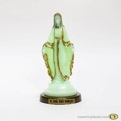 Nossa Senhora das Graças fosforescente com base em cor ouro velho - Pacote com 3 peças - Ref.: IB.GR.13