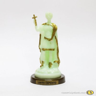 Santo Expedito fosforescente com base em cor ouro velho - O Pacote com 3 peças - Ref.: IB.SE.13
