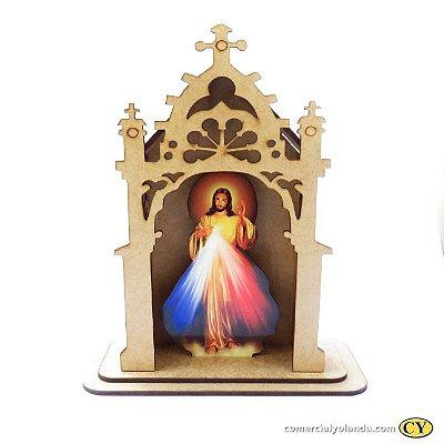 Capelinha em MDF de Jesus Misericordioso - Pacote com 3 peças - Cód.: 3172
