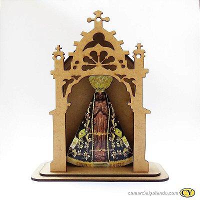 Capelinha em MDF de Nossa Senhora Aparecida - Pacote com 3 peças - Cód.: 3172