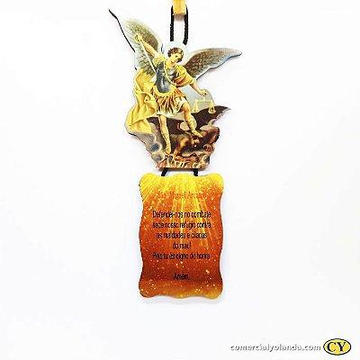 Plaquinha com oração de São Miguel Arcanjo - Pacote com 3 peças - Cód.: 917