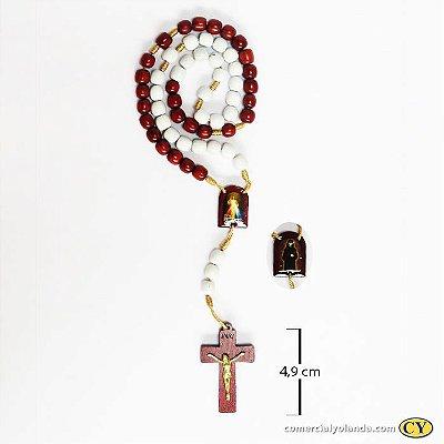Terço em madeira de Jesus Misericordioso e Santa Faustina - A Dúzia - Cód.: 074