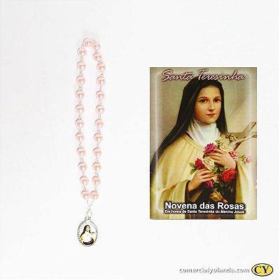 Terço coroa com  folheto de oração de Santa Terezinha - A Dúzia - Cód.: 1821
