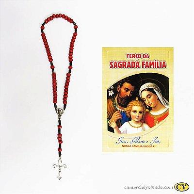 Terço com folheto de oração da Sagrada Família Vermelho - A Dúzia - 1863