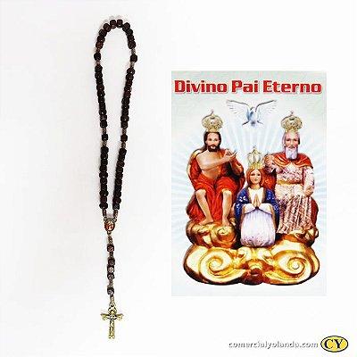 Terço com folheto de oração do Divino Pai Eterno - Marrom - A Dúzia - 2024