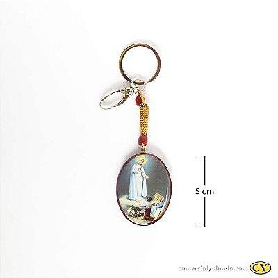 Chaveiro em madeira de Nossa Senhora de Fátima, com mosquetão - Pacote com 3 peças - Cód. 3755