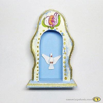 Mini oratório em madeira Barroco com divino, cores variadas - Pacote com 3 peças - Cód.: 818