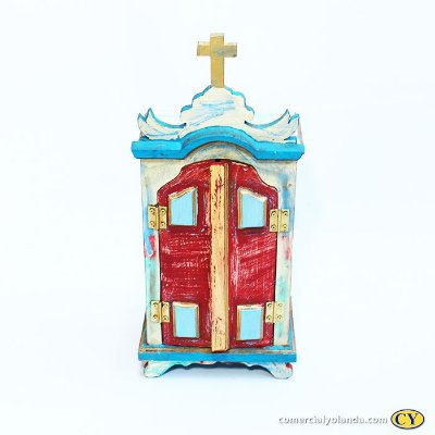 Oratório em madeira barroco Medio, cores variadas - A Unidade - Cód.: 8098