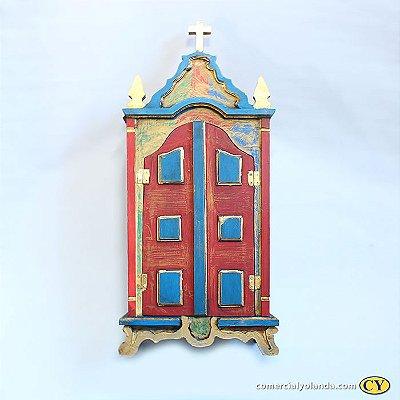 Oratório em madeira barroco Grande, cores variadas - A Unidade - Cód.: 8097
