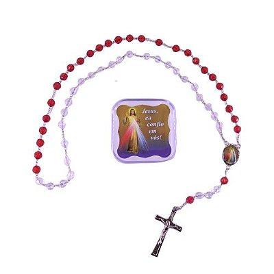 Terço acrílico com caixa, Jesus Misericordioso e Santa Faustina - Pacote com 6 unidades - Cód.: 2493