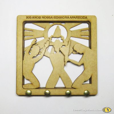 Porta chaves dos 300 anos de Nossa Senhora Aparecida em MDF - Pacote com 3 peças - Cód.: 2604