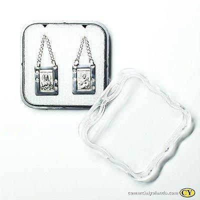 Escapulário em metal do Sagrado Coração de Jesus e Nossa Senhora do Carmo com strass - O Pacote com 6 unidades - Cód.: 7926