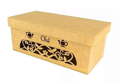Caixa de chá em MDF vazada com tampa 21 x 10 x 9 cm - Pacote com 3 peças - Cód.:2187