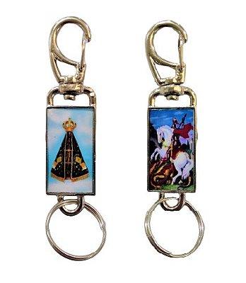 Chaveiro Nossa Senhora Aparecida e São Jorge (um de cada lado), com mosquetão - O pacote com 3 unidades - Cód.: 349
