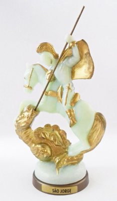 São Jorge fosforescente com base em cor ouro velho - Pacote com 3 peças - Ref.: IB.SJR.13