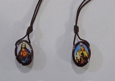 Escapulário em madeira resinado, Sagrado Coração de Jesus e Nossa Senhora do Carmo - A Dúzia - Cód.: 4314