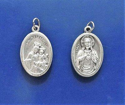 Medalha Escapulário Fosca de Nossa Senhora do Carmo e Sagrado Coração de Jesus - A Dúzia - Cód.: 3630