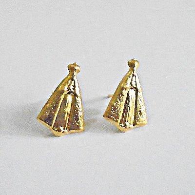 Brinco em metal Dourado de Nossa Senhora Aparecida  - Pacote com 3 pares - Cód.: 7980