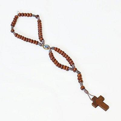 Terço pulseira de Nossa Senhora Aparecida em madeira - A Dúzia - Cód.: 083