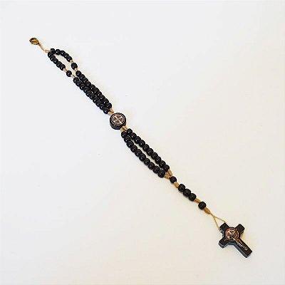 Terço pulseira de São Bento em madeira - Preto - A Dúzia - Cód.: 1943