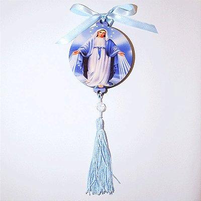 Enfeite Medalhão de parede em MDF com oração de Nossa Senhora das Graças - Pacote com 3 peças - Cód.: 043