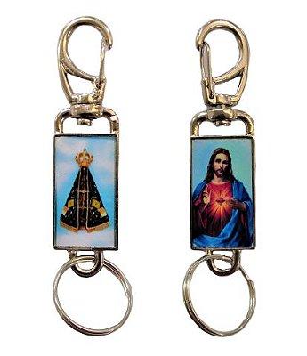 Chaveiro Nossa Senhora Aparecida e Sagrado Coração de Jesus (um de cada lado), com mosquetão - O Pacote com 3 unidades - Cód.: 349