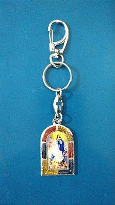 Chaveiro em metal Nossa Senhora da Conceição com mosquetão - Pacote com 3 unidades - Cód.: 3700