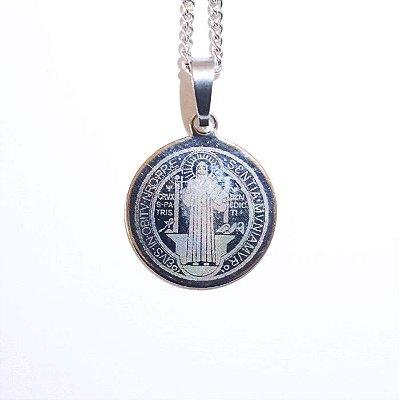 Medalha de São Bento em aço inox a lazer - O Pacote com 3 unidades - Cód.: 6298