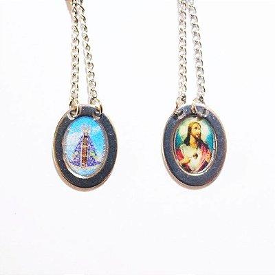 Escapulário oval de Nossa Senhora Aparecida e Sagrado Coração de Jesus - O Pacote com 6 unidades - Cód.: 0576