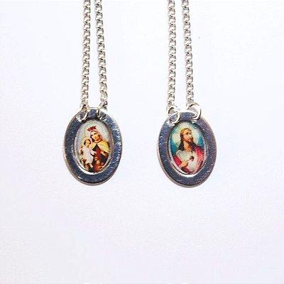 Escapulário oval de Nossa Senhora do Carmo e Sagrado Coração de Jesus - O Pacote com 6 unidades - Cód.: 0576