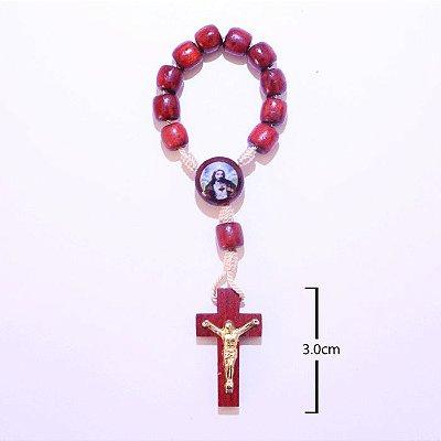Dezena em madeira de Sagrado Coração de Jesus e Nossa Senhora Aparecida - A Dúzia - Cód.: 0981