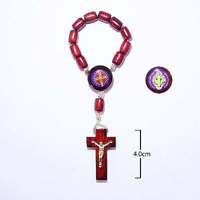 Dezena com entremeio resinado Medalha de São Bento - A Dúzia - Cód.: 0379