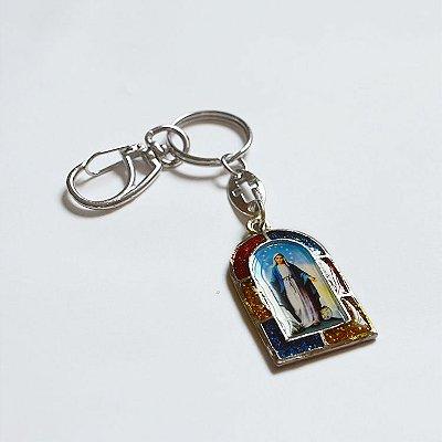 Chaveiro em Metal - Nossa Senhora das Graças e Sagrado Coração de Jesus - Mínimo de 3 peças - Cód. 3700