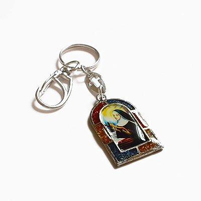 Chaveiro em Metal - Santa Rita e Sagrado Coração de Jesus - Mínimo de 3 peças - Cód. 3700