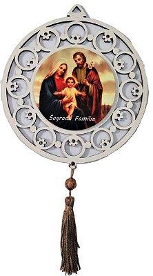 Adorno em MDF com Estampa da Sagrada Família - Pacote com 3 unidades - Cód.: 4443