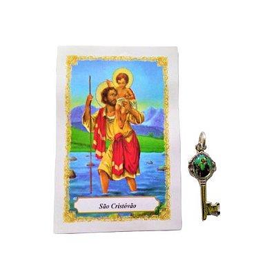 Folheto com oração e Pingente Chave - São Cristóvão - A Dúzia - Cód. 8111