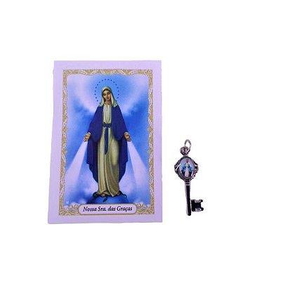 Folheto com oração e Pingente Chave - Nossa Senhora das Graças - A Dúzia - Cód. 8111