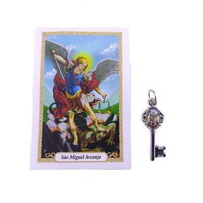 Folheto com oração e Pingente Chave - São Miguel - A Dúzia - Cód. 8111