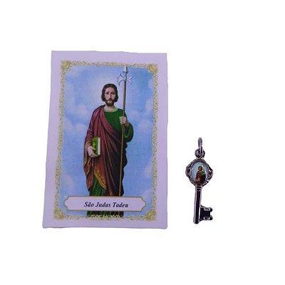 Folheto com oração e Pingente Chave - São Judas Tadeu - A Dúzia - Cód. 8111