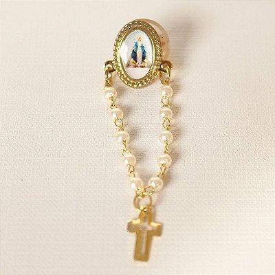 Broche Dezena - Nossa Senhora das Graças com Medalha - A Dúzia - Cód.: 0590