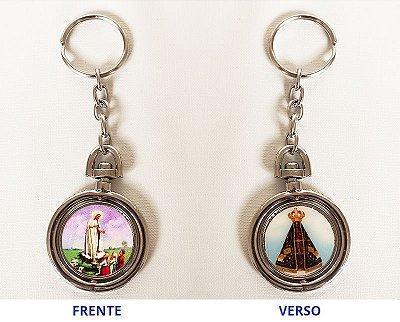 Chaveiro Giratório - Nossa Senhora Aparecida e Nossa Senhora de Fátima com os Pastores - O pacote com 3 unidades - Cód.: 920