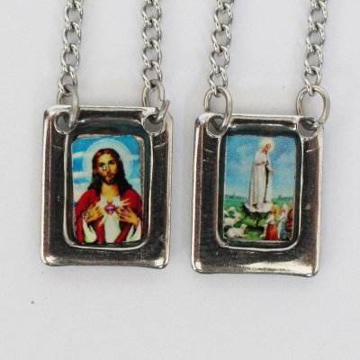Escapulário em aço inox e foto colorida Sagrado Coração de Jesus e Nossa Senhora de Fátima - O Pacote com 6 unidades - Cód.: 8848