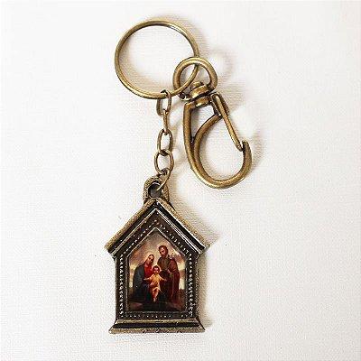 Chaveiro em metal capelinha - Sagrada Família - Mínimo de 3 peças - Cód.: 3035