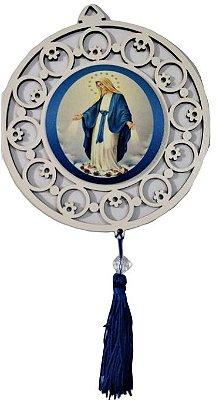 Adorno em MDF com Estampa de Nossa Senhora das Graças  - Pacote com 3 unidades - Cód.: 4443