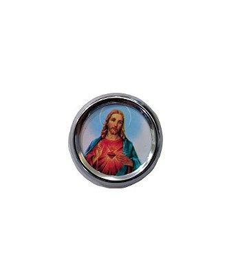 Imã redondo do Sagrado Coração de Jesus - A duzia - Cód.: 1555
