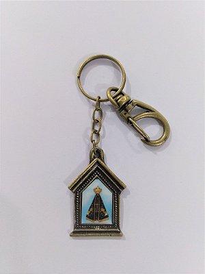 Chaveiro em metal capelinha de Nossa Senhora Aparecida - Pacote com 3 peças - Cód.: 3035