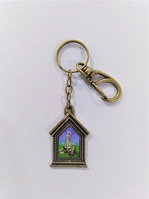 Chaveiro em metal capelinha de Nossa Senhora de Fátima - Pacote com 3 peças - Cód.: 3035